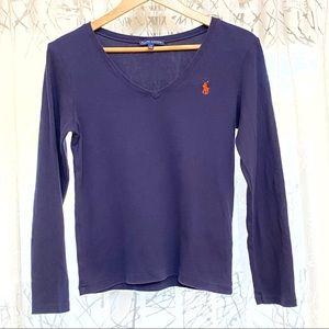 Ralph Lauren navy blue long sleeve v-neck t-shirt